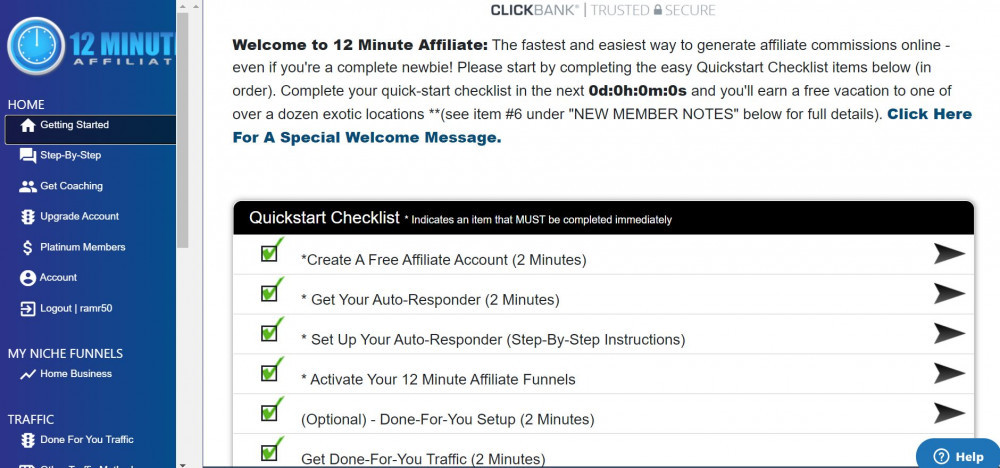 12 Minute Affiliate System Checklist